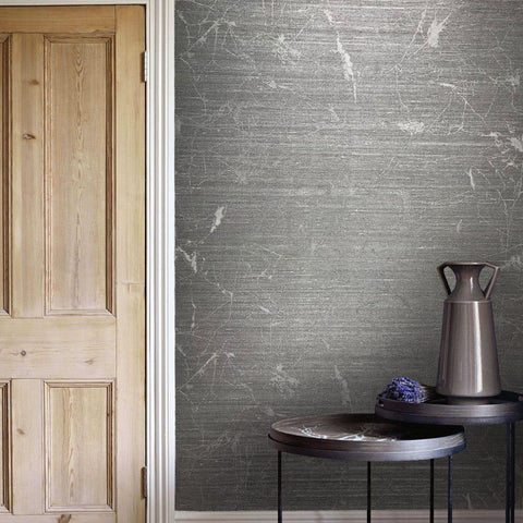 125051 Black Charcoal Plain Metallic Wallpaper