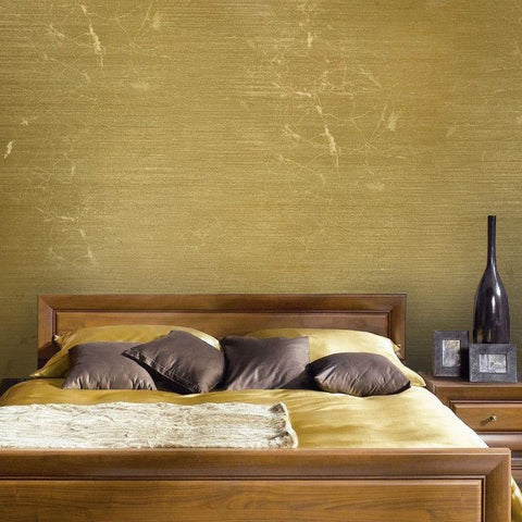 125050 Portofino Gold Metallic Plain Textured Wallpaper