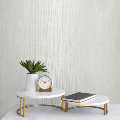 135061 Modern Flocked Wallpaper Off White Textured Flocking Velvet Lines Waves 3D - wallcoveringsmart