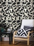 135052 White Black Flock Tree Leave Floral Flocked Wallpaper 3D - wallcoveringsmart