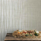 135063 Flocked beige gray off white tan Wallpaper Textured Flocking Velvet Wave Lines - wallcoveringsmart