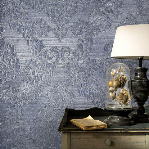 125005 Portofino Blue Damask Metallic Fine embossing Wallpaper
