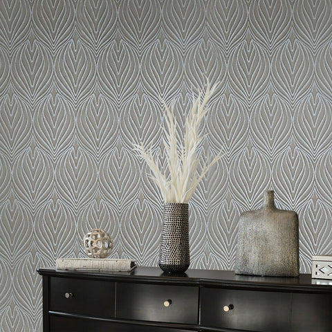 Z41223 Zambaiti quadrille lotus damask bronze silver metallic faux fabric Wallpaper