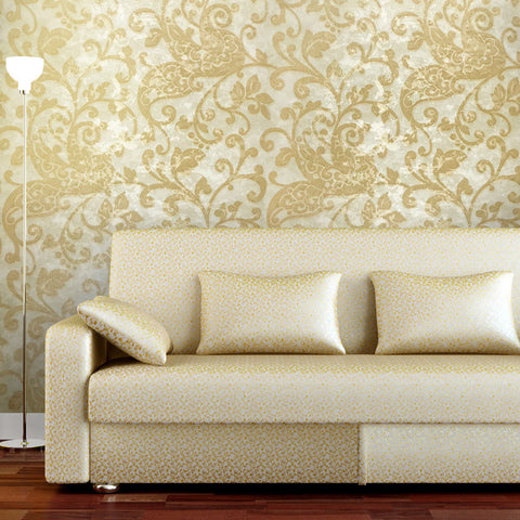 500010 Portofino Modern Gold Cream Floral Paisley Wallpaper