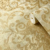 500010 Gold Cream Floral Paisley Wallpaper