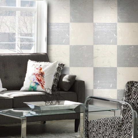 125023 Portofino Silver Grey Cream Plaid Textured Wallpaper