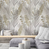 255007 Portofino Cream Gold Silver Palm Leaf Textured Wallpaper