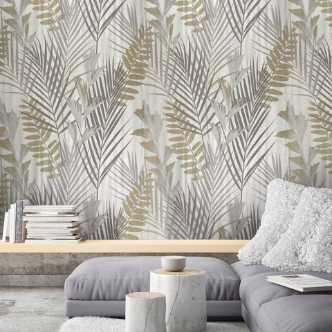 255007 Portofino Cream Gold Silver Palm Leaf Wallpaper