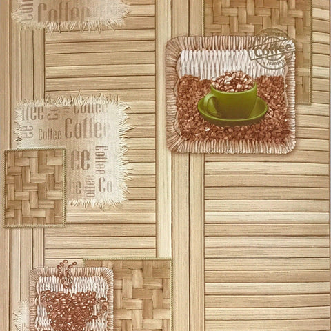 C889-05 Coffee kitchen faux Wood textured Brown Wallpaper