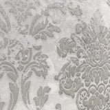 500002 White Gray Silver Rustic Damask Wallpaper textured - wallcoveringsmart