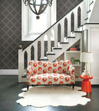 2625-21801 Brewster Charcoal Silver Dots Quatrefoil Gray Wallpaper