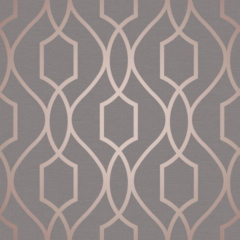 WM4199801 Wallpaper Charcoal Rose Gold Geometric Trellis Metallic