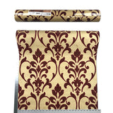 165030 Gold Burgundy Damask Flock Wallpaper