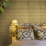 165022 Flock Gold Brown Stripes textured Wallpaper