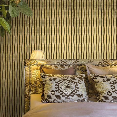 165022 Flock Gold Brown Stripes Wallpaper