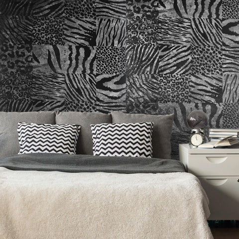 115013 Portofino Сoal Gray Black Flock Animal Velour Wallpaper
