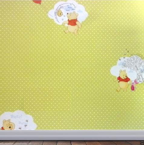 Decofun Disney Winnie the Pooh Kids Green Polka Dot Wallpaper