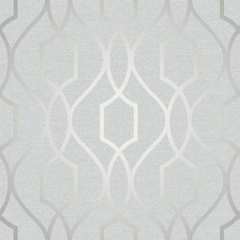 WM4199501 Wallpaper White Gray Silver Geometric Trellis Metallic 3D - wallcoveringsmart