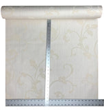 175017 Cream Ivory Damask Flocking Portofino Wallpaper