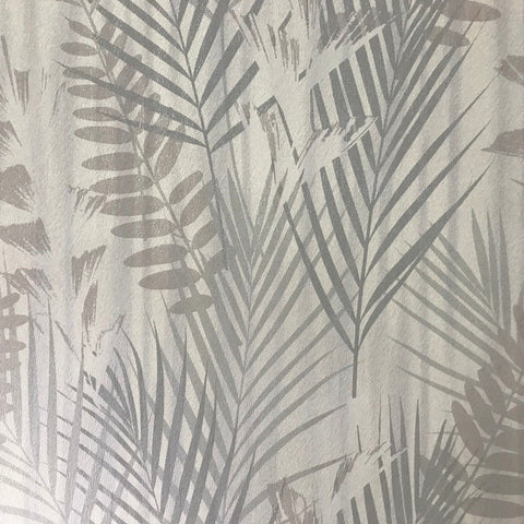255002 Wallpaper gray silver Floral Tropical Palm Leaves