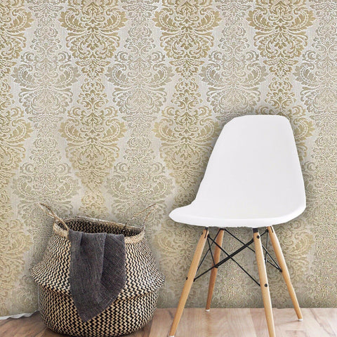 M330-05 Vinyl Wallpaper textured yellow beige Victorian vintage damask - wallcoveringsmart