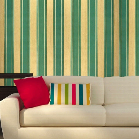 400026 Flocking Green Gold Striped Portofino Wallpaper
