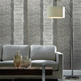 310006 Gray Rustic Stripes faux rug Striped Textured Wallpaper