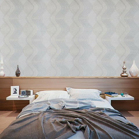 8602-01 Slavyanski tan cream gray silver metallic textured wave lines Wallpaper