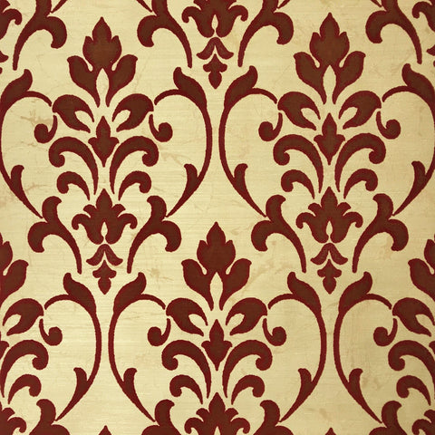 165030 Portofino Gold Burgundy Damask Flock Textured 3D Wallpaper