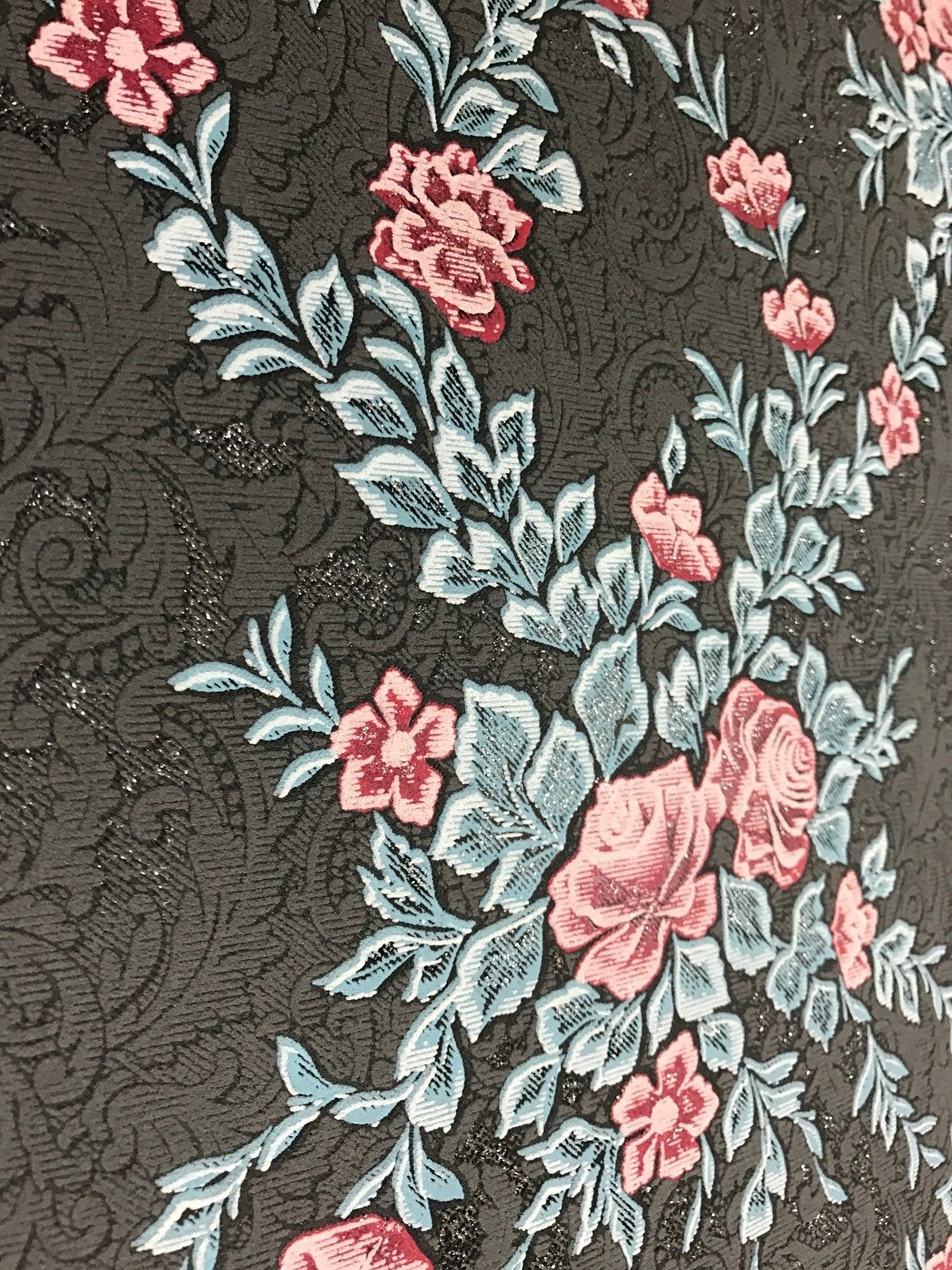 M328 10 Floral Rose Black Glitter Wallpaper Wallcoveringsmart