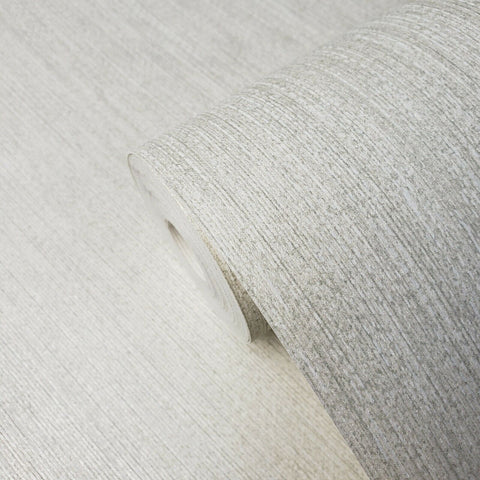 305033 Portofino Non-woven Plain Metallic Off White Silver Wallpaper