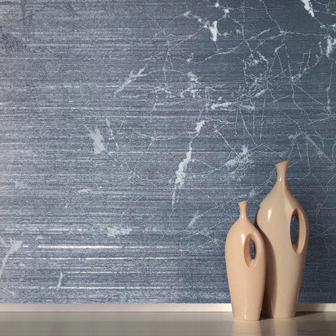 125046 Blue Plain Metallic Textured Wallpaper