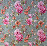 L872-10 Watercolor Floral Flowers Gray Pink Wallpaper