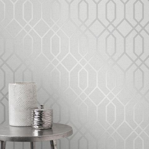 WM8423042 Silver Gray White Glitter Textured Geometric Trellis Quartz Wallpaper