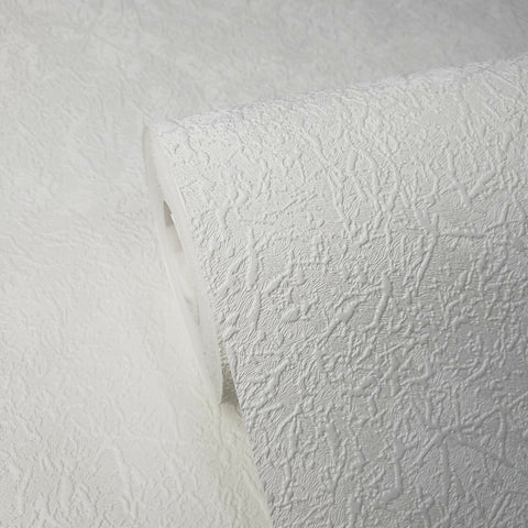 8607-10 White Modern Plain faux plaster Textured Wallpaper