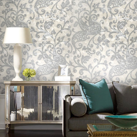 500013 Ivory Gray Silver Paisley Floral Damask Wallpaper