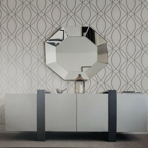 WM5423376 Geometric Glitter Gray Wave Lines Metallic Modern Contemporary Silver Textured Wallpaper