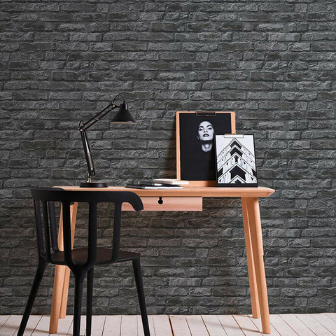 WM95470101 Textured black gray modern faux stone brick Wallpaper