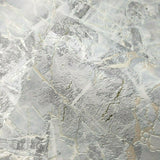 5637-03 Wallpaper textured blue silver gold metallic cracks faux marble stone