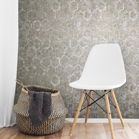 330011 Portofino Honeycomb Gray Beige Textured Wallpaper