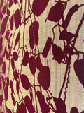 135055 Portofino Gold Burgundy tree Leaf Wallpaper Flock leaves