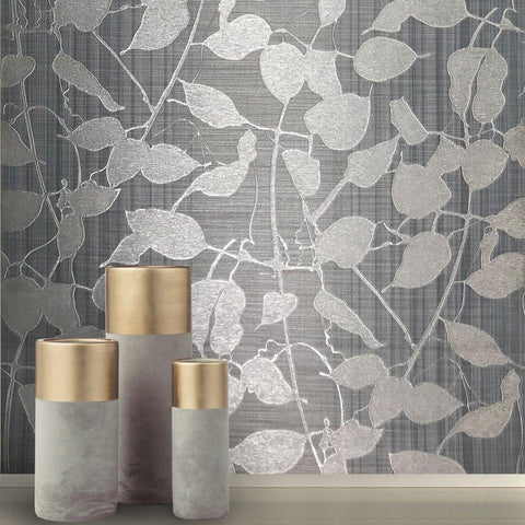 135012 Gray Silver Metallic Leaves Wallpaper