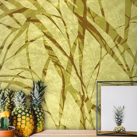300004 Portofino Lime Green Yellow Palm Abstract Satin Wallpaper
