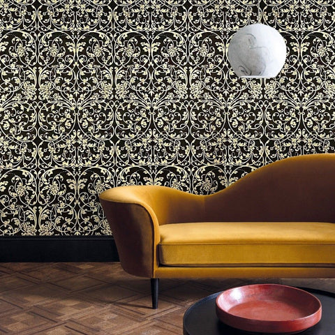 8545-10 Black Gold Damask VictorianTextured metallic 3D Wallpaper