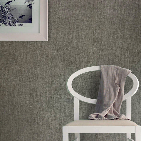 330032 Gray faux textile fabric Sac Cloth textured Plain Wallpaper