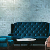 8609-03 Teal blue metallic gray brown faux plaster stone Textured Wallpaper