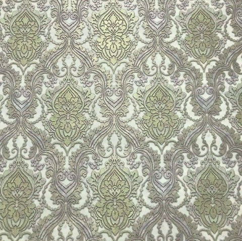 L876-07 Grey Silver Gold Lilac Damask Wallpaper