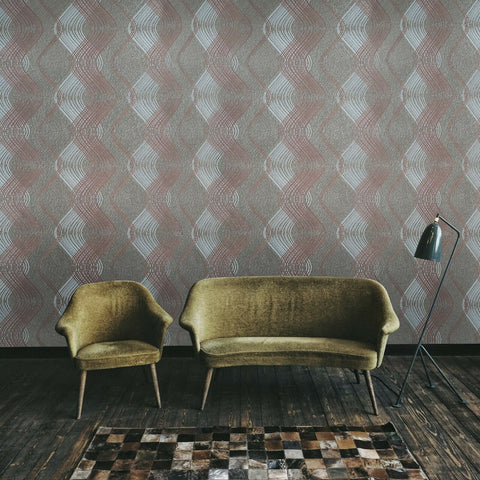 8602-13 Geometric taupe brown metallic silver trellis wave lines Wallpaper