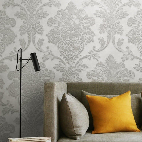 500002 White Gray Silver Rustic Damask Wallpaper textured