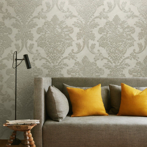 500043 White Silver Gray Damask Wallpaper